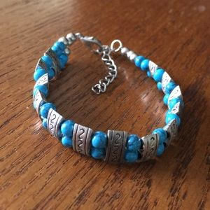 Jewelry - Small Turquoise and Steel Bracelet